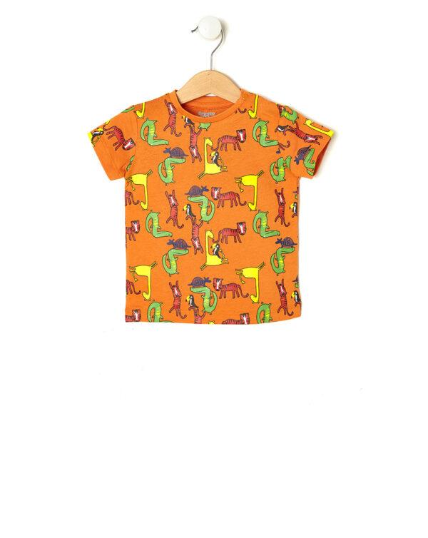 T-shirt arancio con stampa animali della giungla - Prénatal