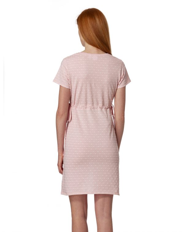 Camicia da notte rosa mélange a pois bianchi - Prénatal