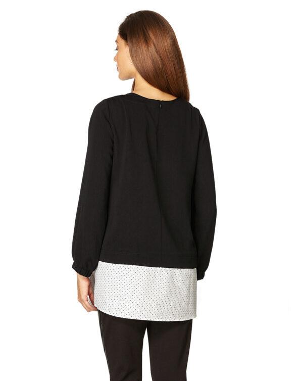 Blusa nera con finta camicia a pois - Prénatal