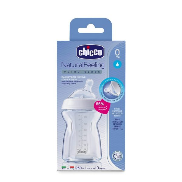 biberon NaturalFeeling 0m+ in vetro 250ml - Chicco