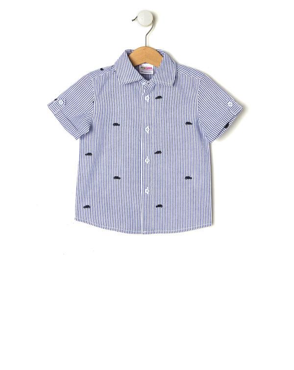 Camicia a righe blu con ricami macchine - Prénatal