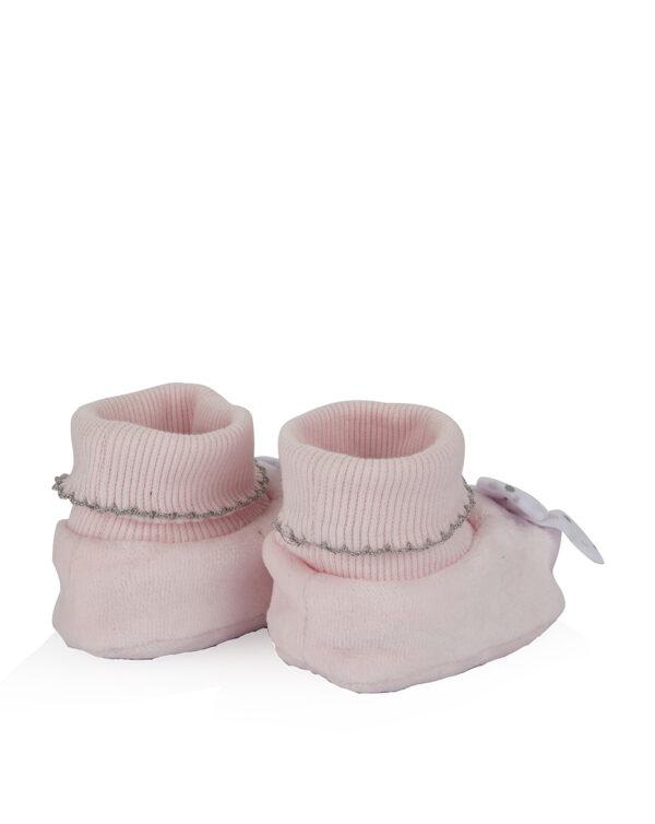 Babbucce in ciniglia rosa con fiocco - Prénatal