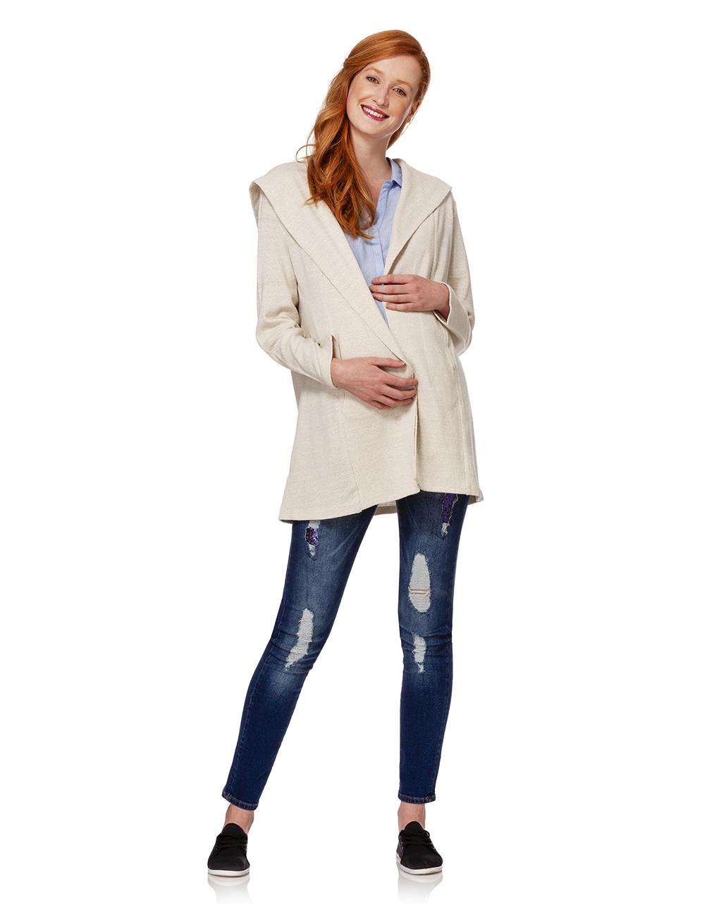 Cardigan in tricot con cappuccio - Prénatal