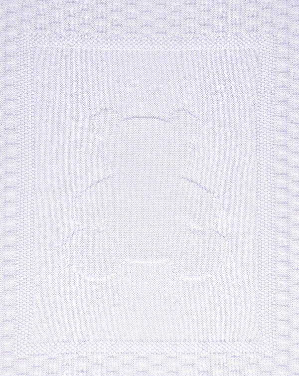 Coperta per culla in tricot bianco con orso - Prénatal