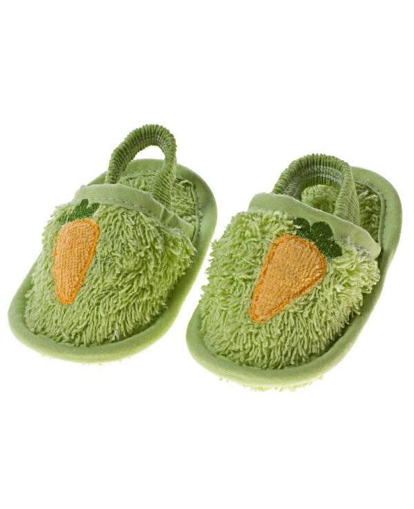 Accappatoio per neonato verde + scarpine - Prénatal