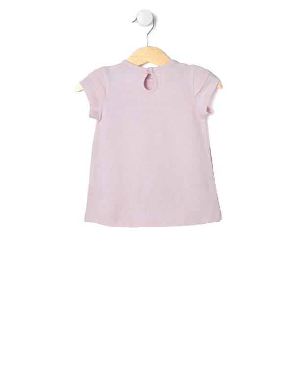 T-shirt rosa chiara con stampa rosa glitterata - Prénatal