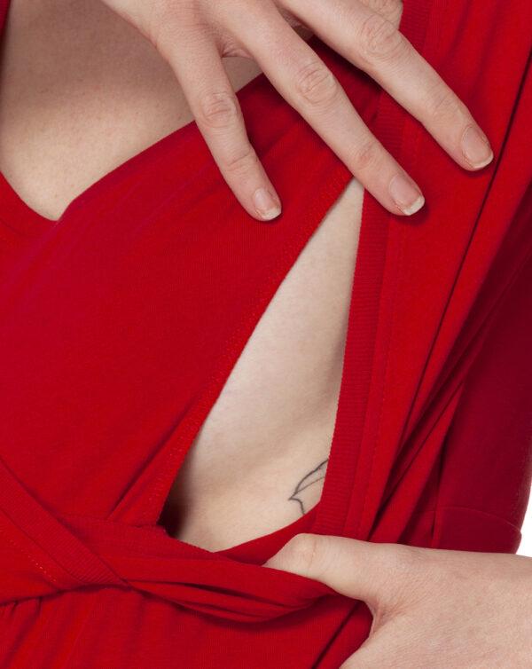T-shirt allattamento rossa con incrocio - Prénatal