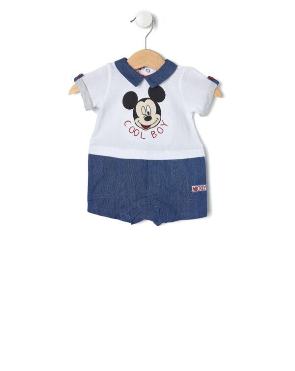 Tutina in piquet bianco e chambray e stampa Mickey Mouse - Prénatal