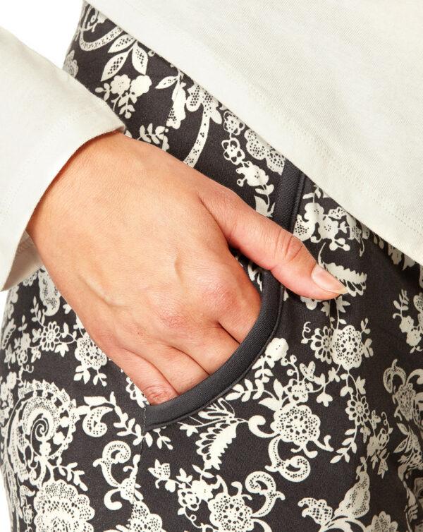 Pigiama panna e grigio con stampa floreale - Prénatal