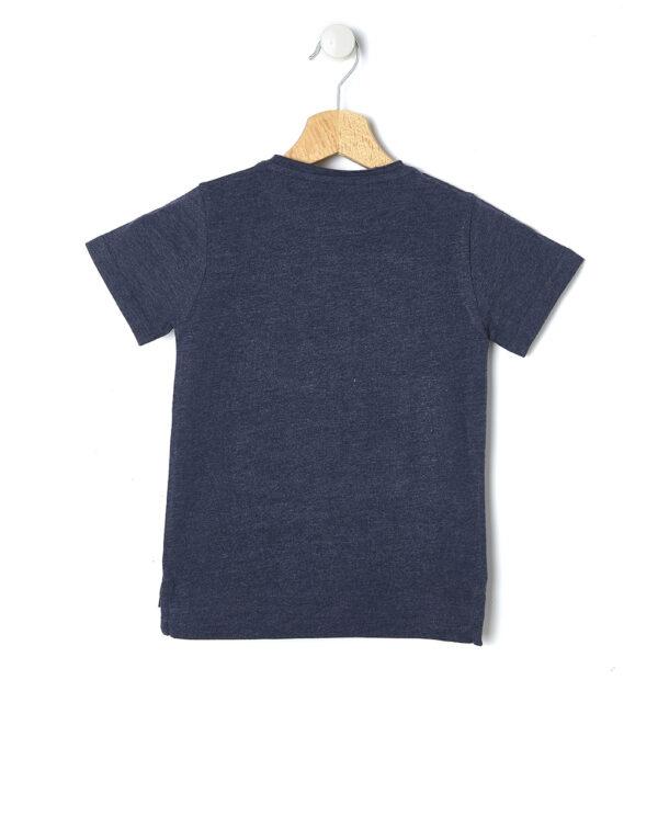 T-shirt blu mélange con stampa gommata - Prénatal