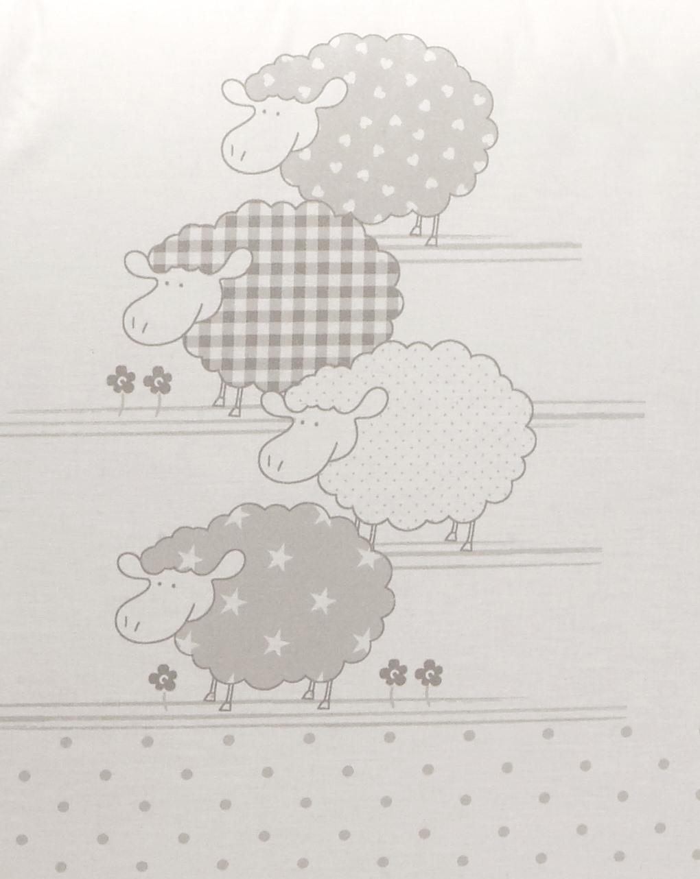 Letto - paracolpi a 4 lati con pecorelle e pois grigio chiaro - Prénatal