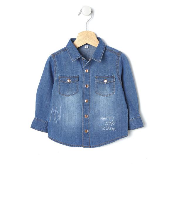 Camicia in denim blu con scritta bianca - Prénatal