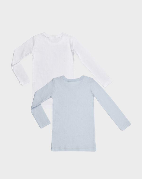 Pack 2 t-shirt maniche lunghe in cotone felpato bianco e azzurro - Prénatal