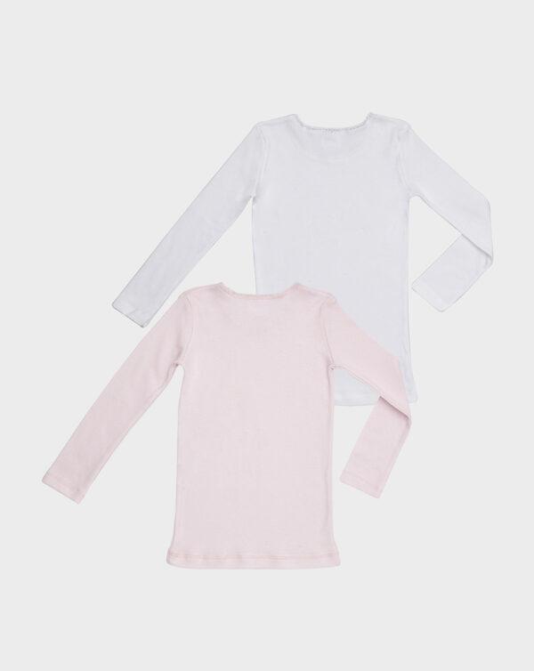 Pack 2 t-shirt in cotone felpato bianco e rosa con frill - Prénatal