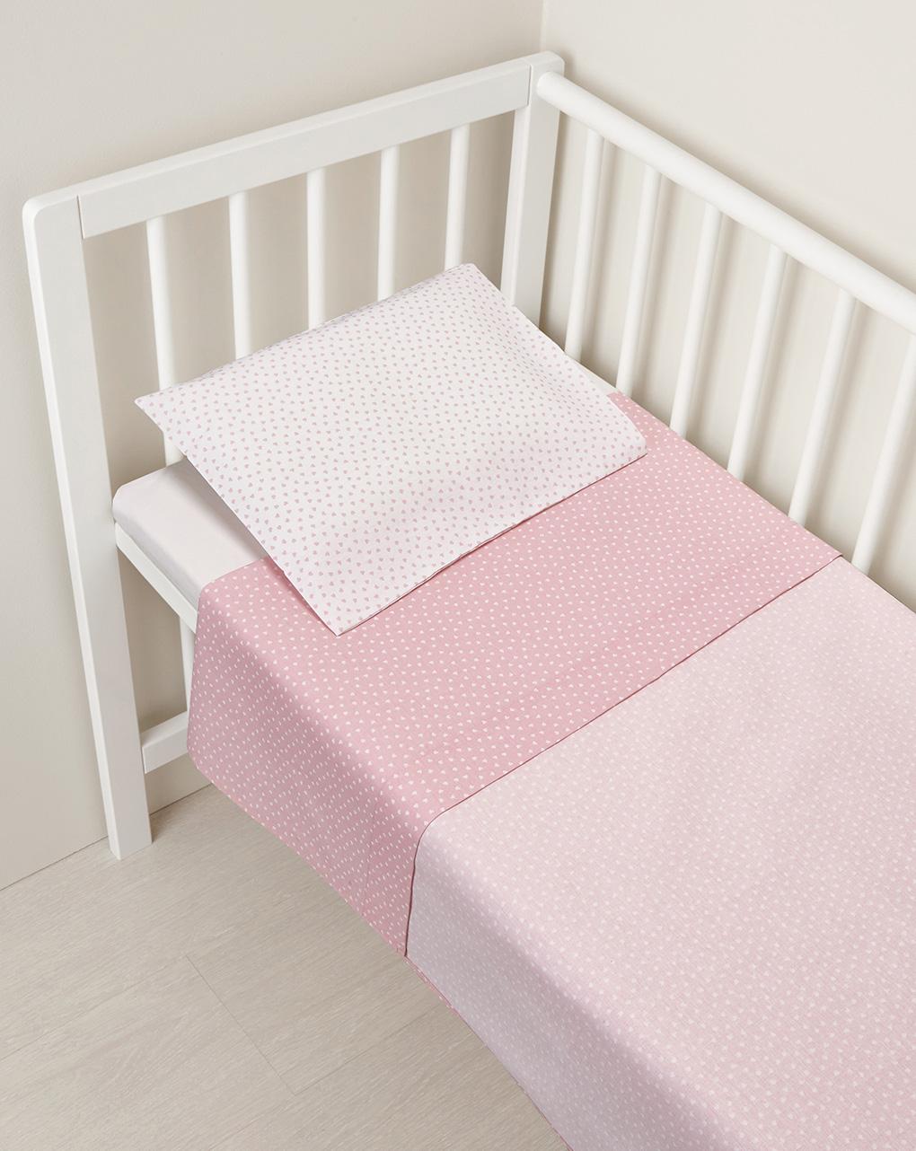 Culla/carrozzina - parure per culla 2 pezzi rosa con cuori - Prénatal