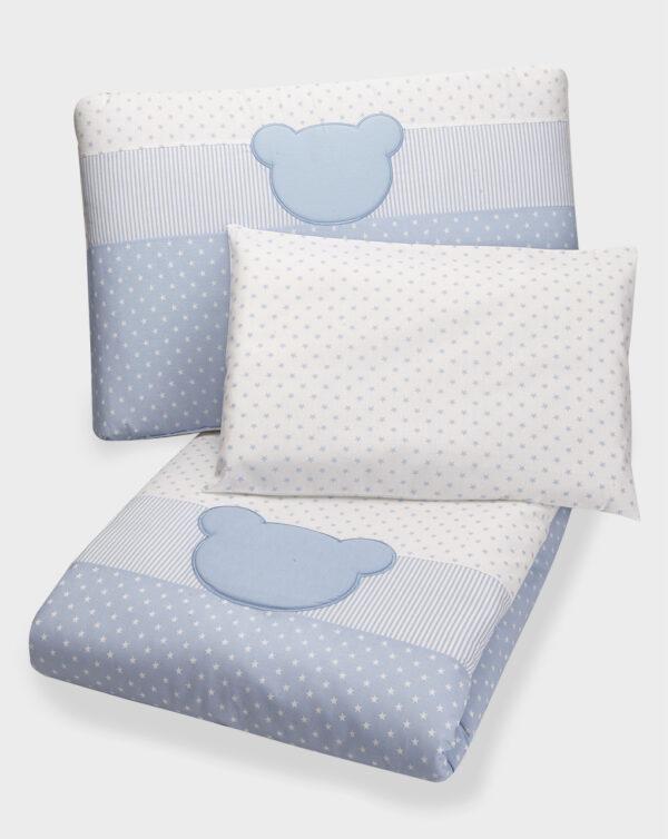 Set copripiumino letto azzurro a stelle, righe e orso - Prénatal