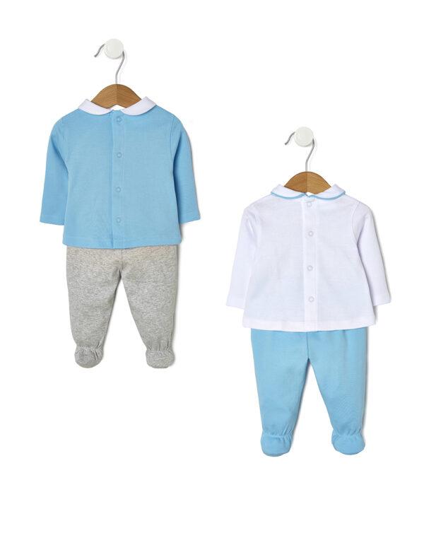 Pack 2 completi azzurri e bianchi con maglia e ghette - Prénatal