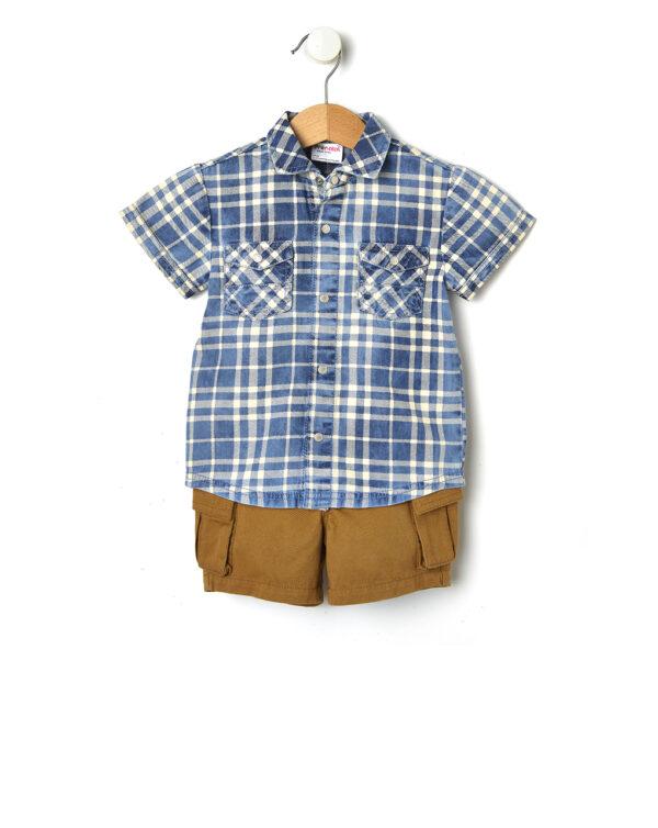 Completo camicia scozzese e calzoncino - Prénatal