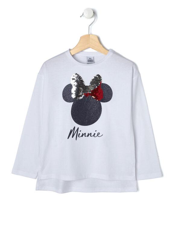 T-shirt bianca con Minnie glitter e paillettes reversibili - Prénatal