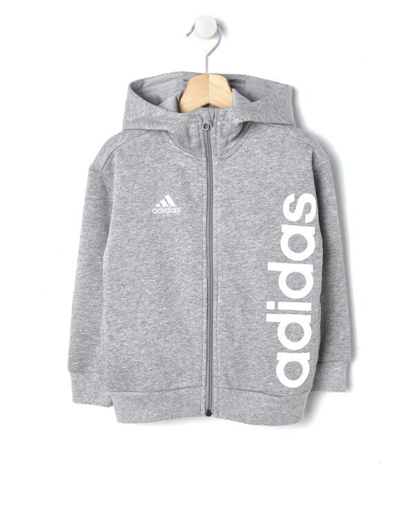 Felpa Adidas grigio chiaro mélange con cappuccio - Prénatal