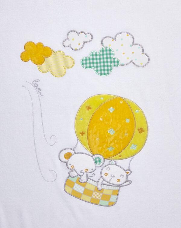 Coperta in ciniglia bianca con animaletti e mongolfiera per culla - Prénatal