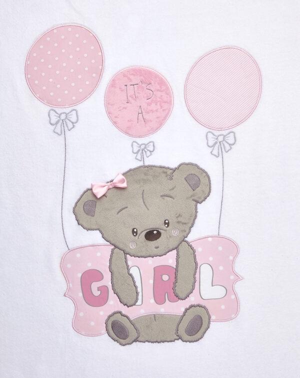 CULLACARROZZINA - Coperta in ciniglia con orsetta e cuscino rosa e scritta Girl - Prénatal