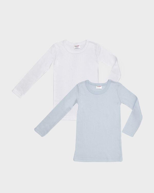 Pack 2 t-shirt in cotone felpato bianco e azzurro - Prénatal