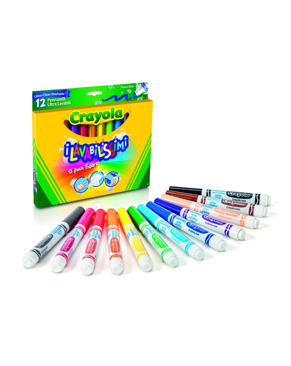 Crayola - 12 colori fibra punta maxi lavabilissimi - Crayola