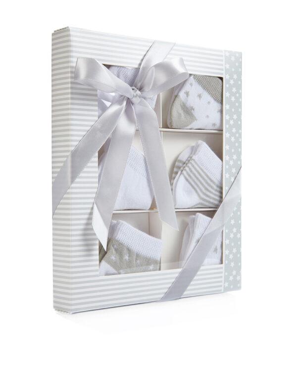 Pack 6 paia di calze bianche a stelle e righe grigio chiaro - Prénatal
