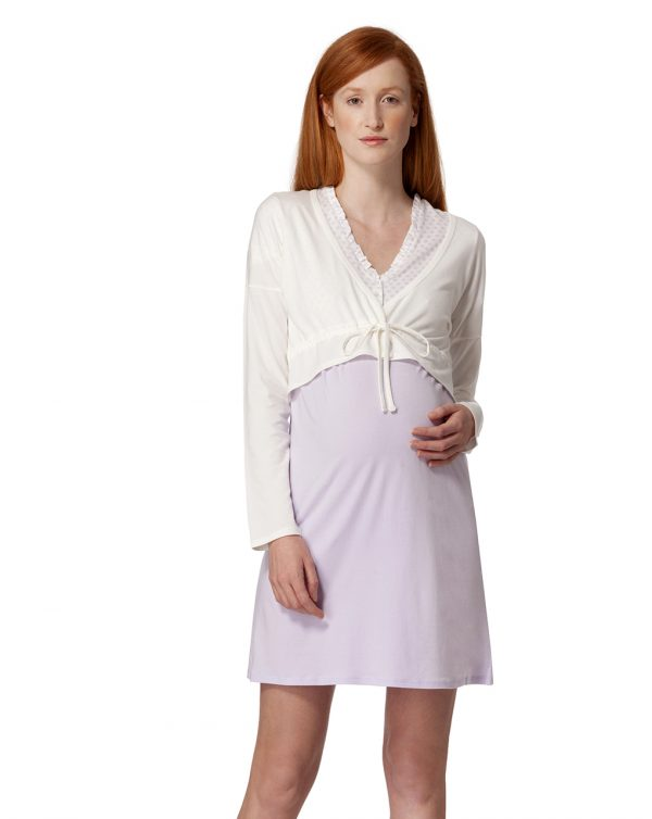 Camicia da notte lilla a pois e panna con bolero - Prénatal