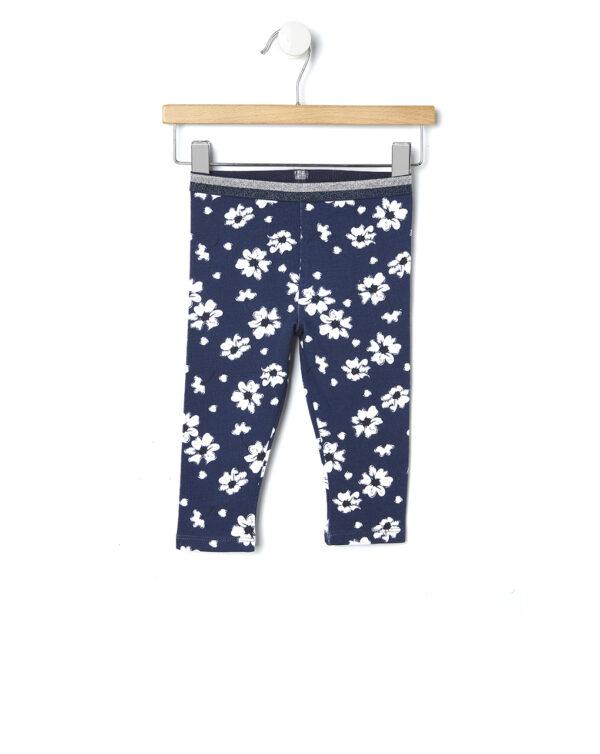 Leggings in felpa blu con fiori bianchi - Prénatal