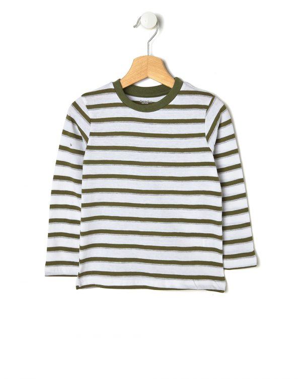 T-shirt a righe bianche, verdi e grigie - Prénatal