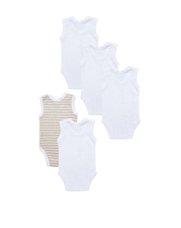 Pack 5 body a canotta bianchi con animaletti beige - Prénatal