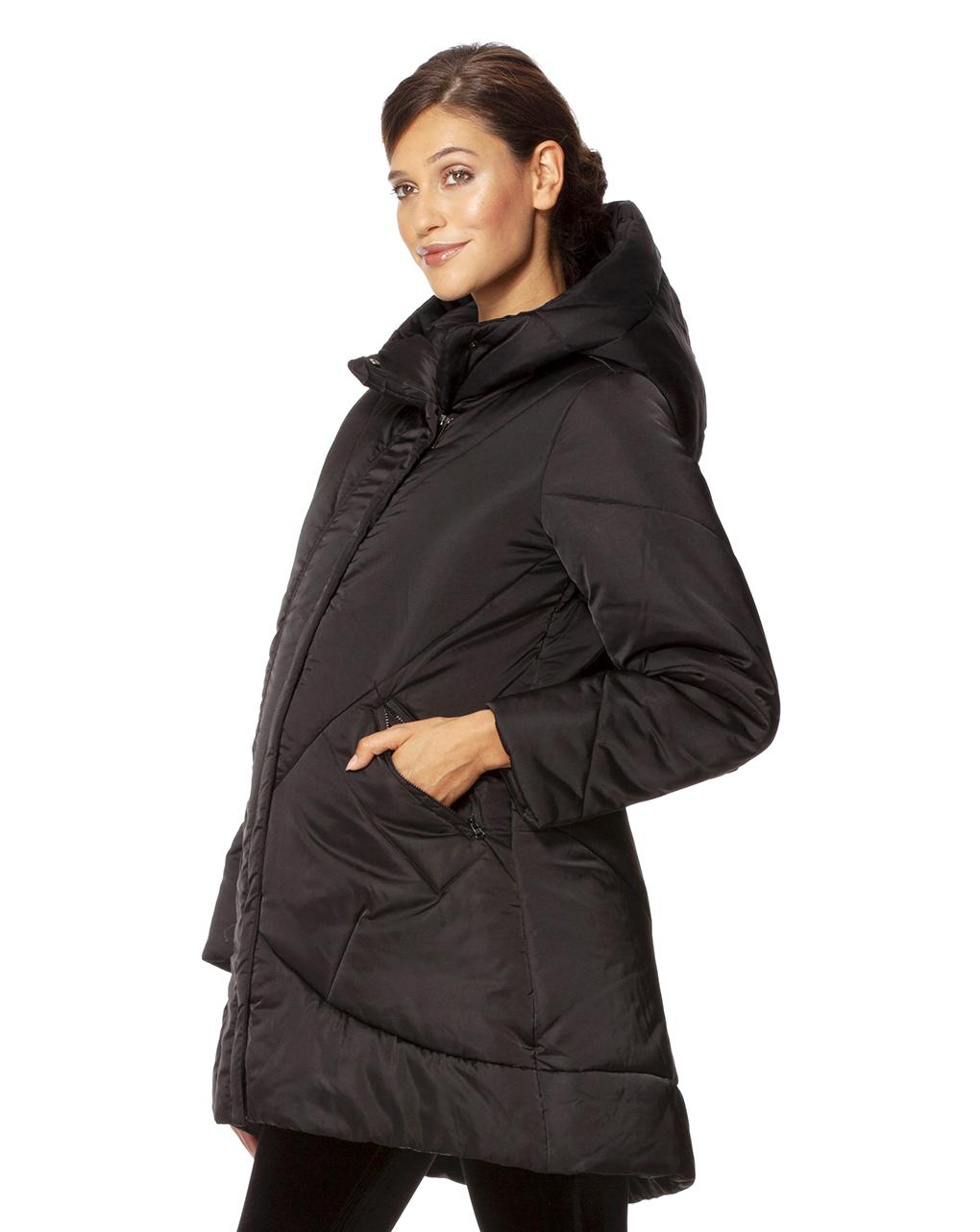 online retailer 0dd29 e06b5 Piumino lungo nero con cappuccio