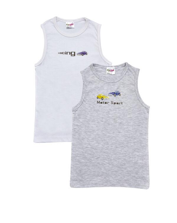 Pack 2 canotte in jersey con stampa macchine e scritte - Prénatal