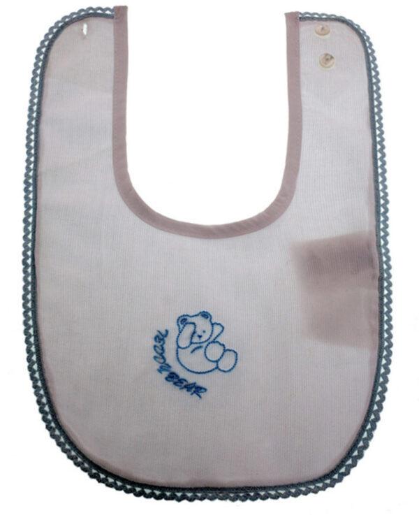 Bavaglino in cotone con bordo ricamato azzurro - Prénatal