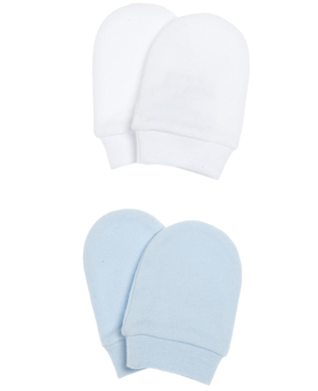 Set di due paia di manopole bianche e azzurre - Prénatal