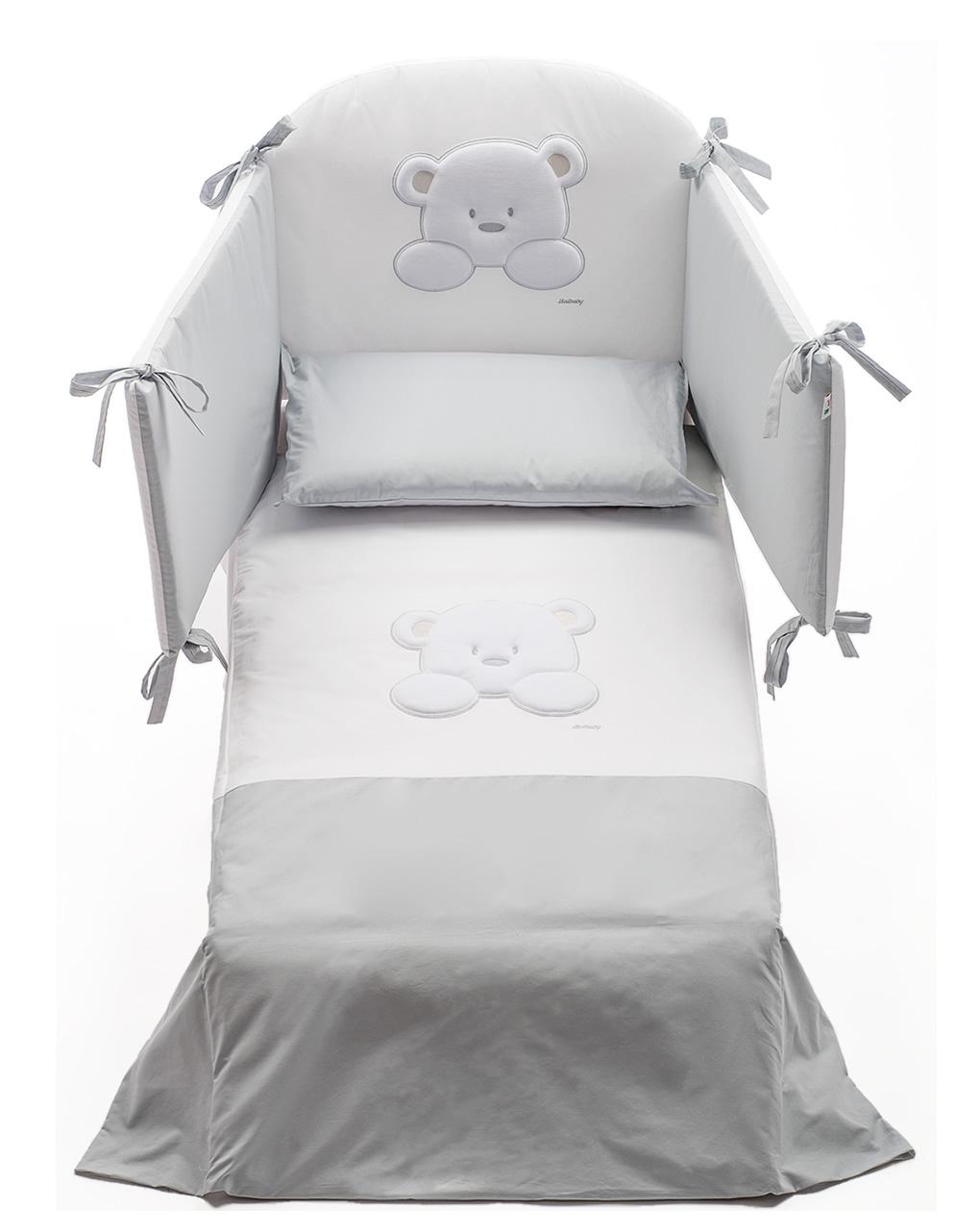 Set letto teddy 4 pezzi paracolpi-piumino-copripiumino-federa - italbaby