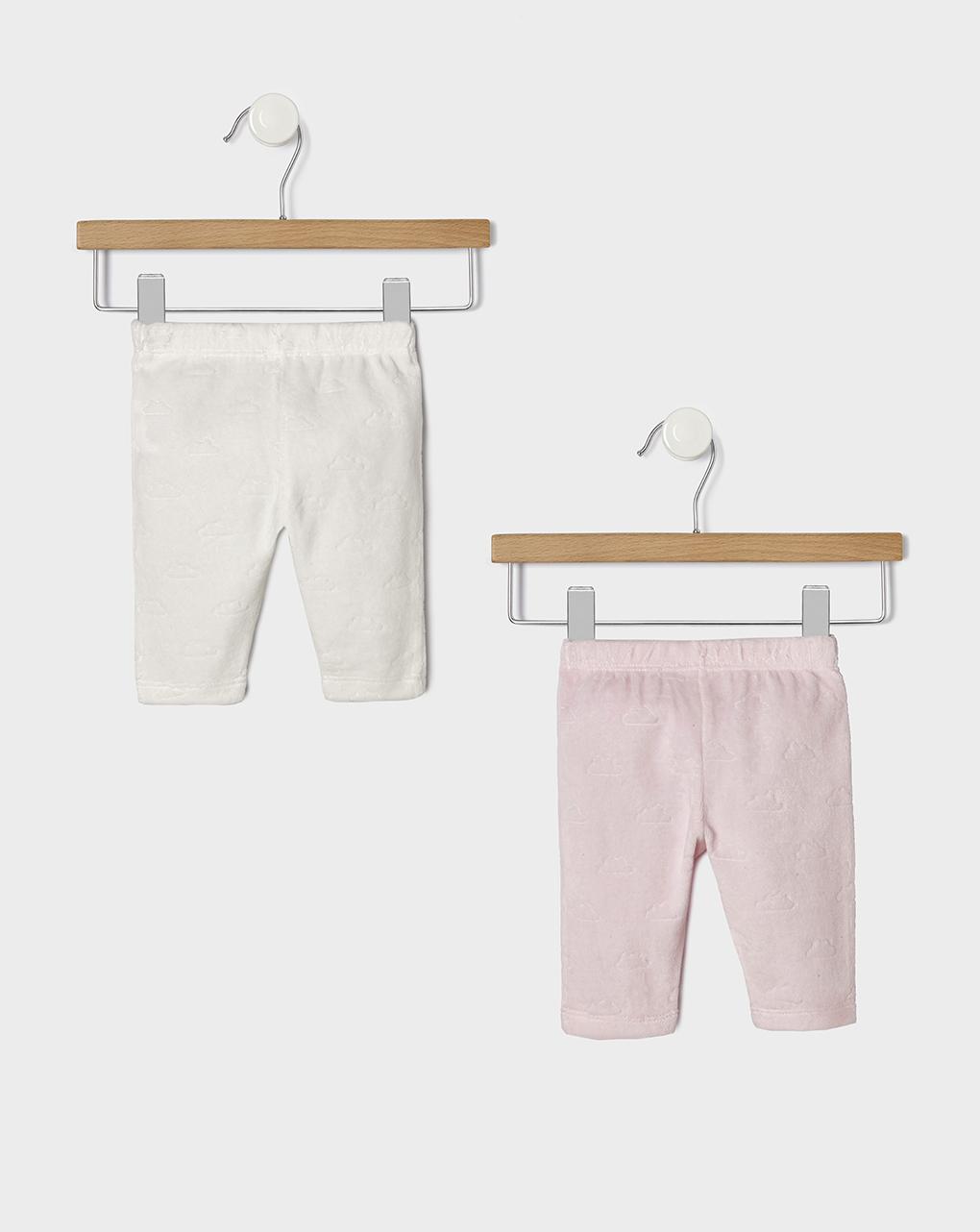 Pack 2 ghette in ciniglia operata nuvola bianco e rosa - Prénatal
