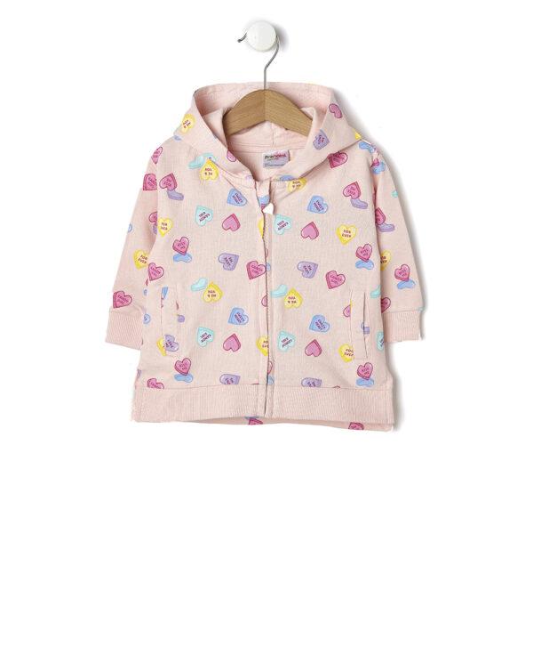 Cardigan in felpa rosa chiaro con stampa cuoricini - Prénatal