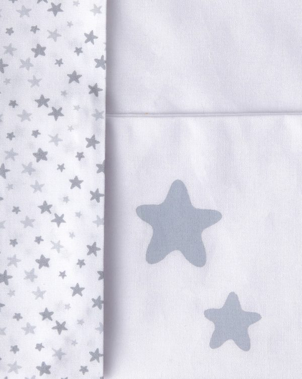 Set 2 pezzi per culla bianco con stelline e Just Born in grigio - Prénatal