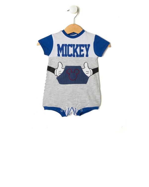 Tutina bianca e grigio chiaro con scritta Mickey e tasca - Prénatal