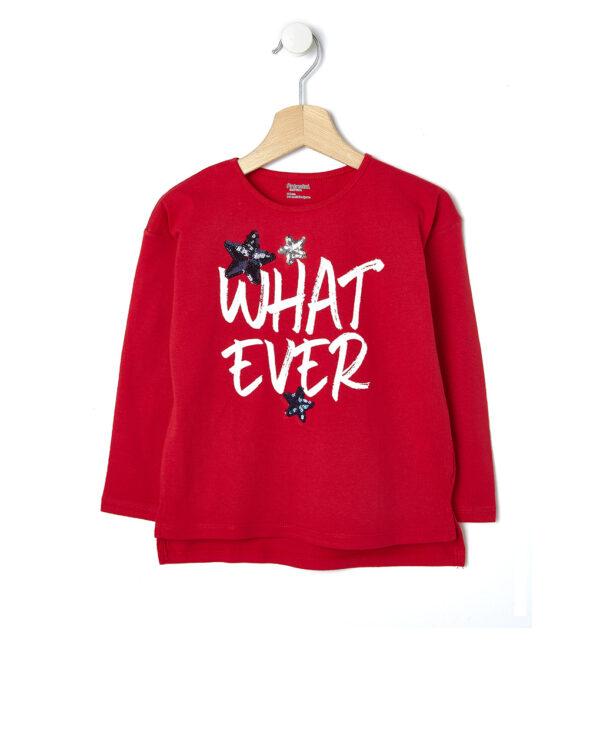 T-shirt rossa con stelle e scritta What Ever - Prénatal