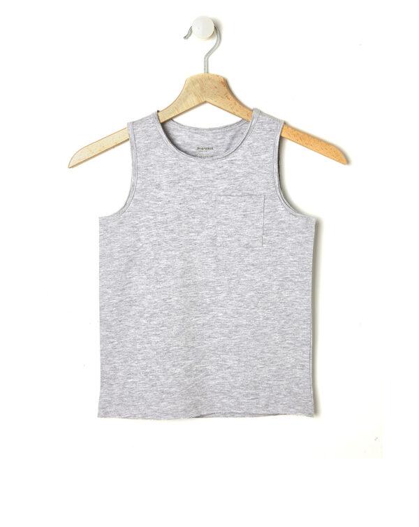 T-shirt a canotta grigio mélange con taschino - Prénatal