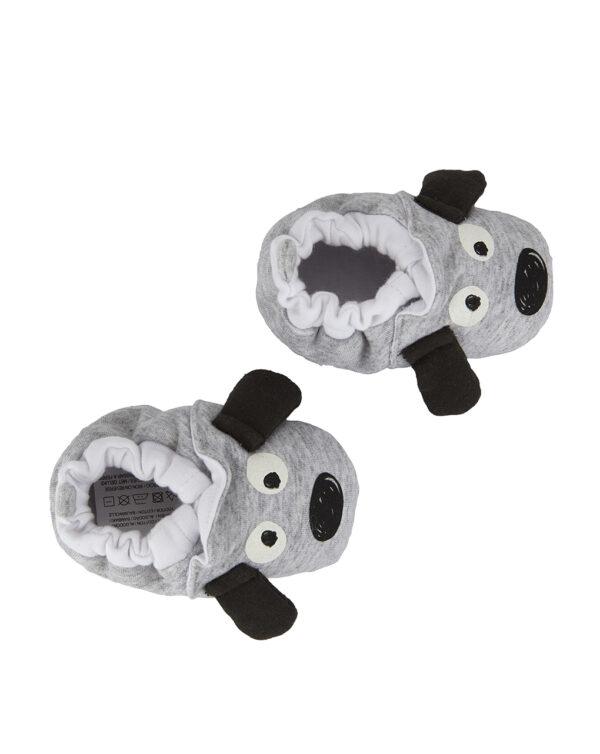 Babbucce in felpa grigie con cane - Prénatal