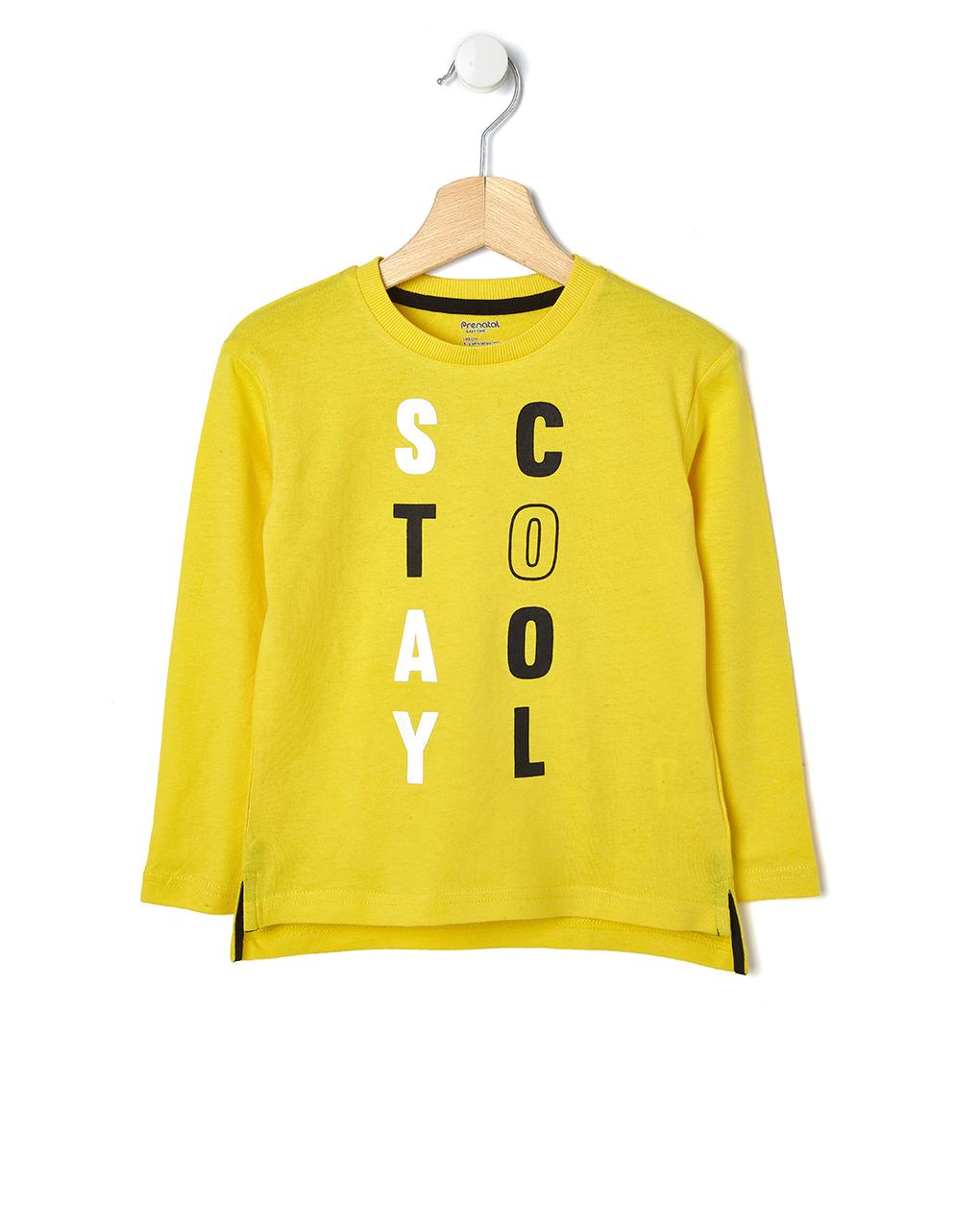 8a51f80530 T-shirt gialla con scritta Stay Cool