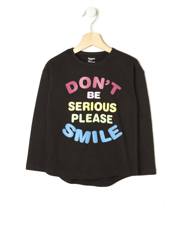T-shirt nera con scritta multicolor - Prénatal