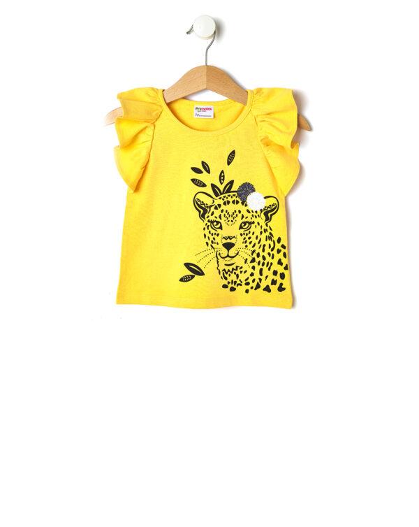 Canotta gialla con volant e stampa leopardo - Prénatal