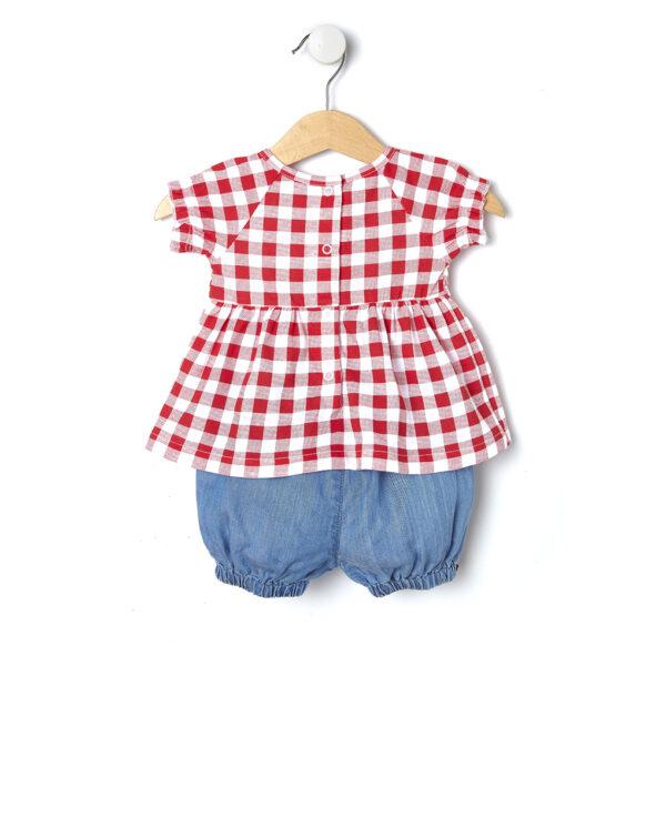 Completo con maglia a check rossi e pantaloncini con fiocchi - Prénatal