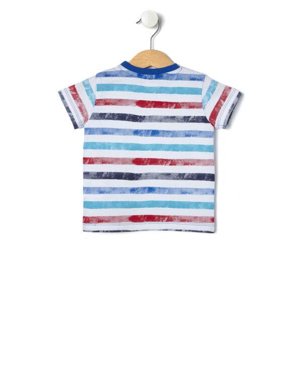 T-shirt a righe blu, azzurre e rosse - Prénatal